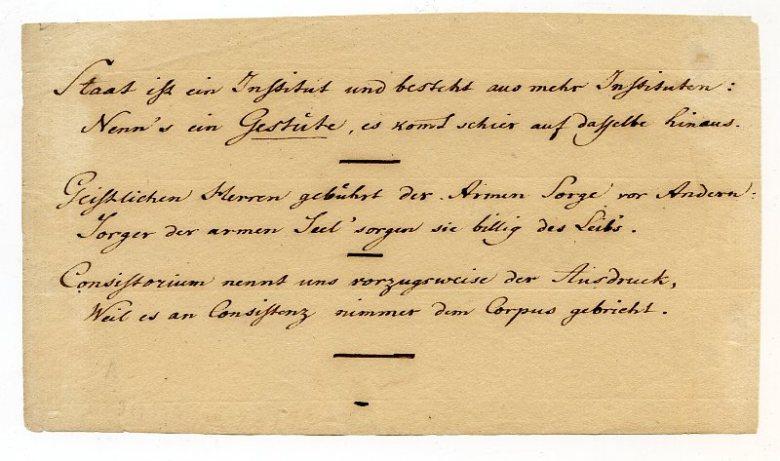 Friedrich Wilhelm Riemer, Eigenhändiges Albumblatt, o.J.