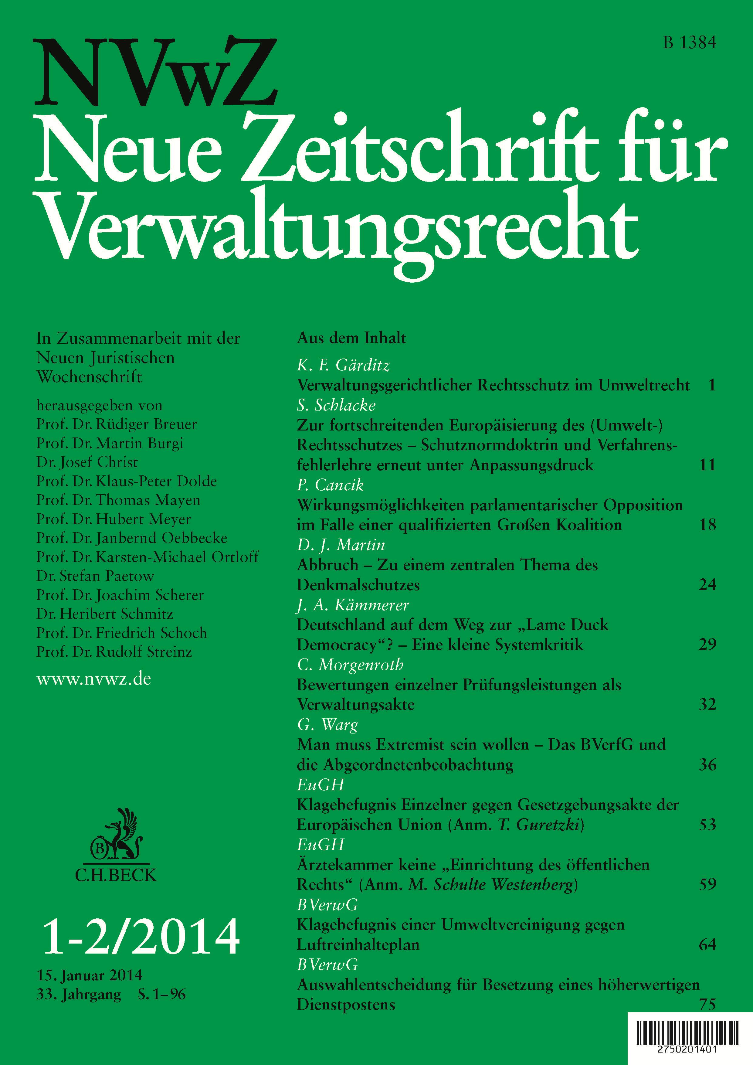 NVwZ – Neue Zeitschrift für Verwaltungsrecht